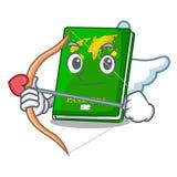 Cupid green passport in a character bag. Vector illustration stock illustration