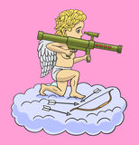 Cupid with a grenade launcher. Royalty Free Stock Photo