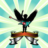 Cupid with guitar. Abstract colorful illustration with black cupid shape and colored electric guitar Stock Photos