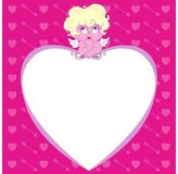 Cupid on a heart Stock Photo