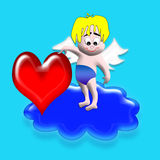Cupid with heart Royalty Free Stock Photography