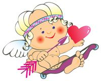 Cupid and heart Royalty Free Stock Photo