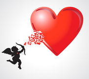 Cupid with heart Stock Images