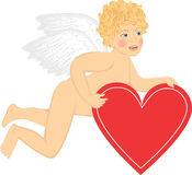 Cupid with heart Stock Photo