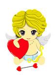 Cupid and heart. The Cute cupid in blue pant with The heart arrow Royalty Free Stock Image