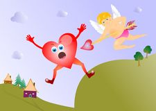 Cupid with heart card Royalty Free Stock Photos
