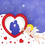 Cupid with heart frame vector illustration