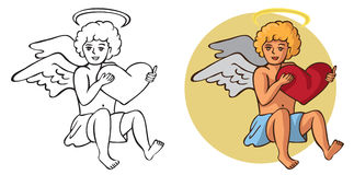 Cupid and heart in hands Royalty Free Stock Image