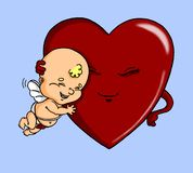Cupid and heart. Humorous cupid and red heart, on a blue background. This vignette combines traditional ink techniques with digital color Royalty Free Stock Photos