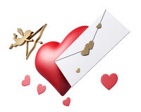 Cupid, heart and letter Valentine card on white background. 3d rendering Royalty Free Stock Photos