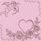 Cupid and heart with roses Royalty Free Stock Images