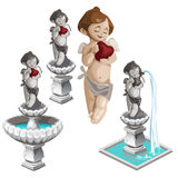 Cupid with heart and the same fountains. Vector Royalty Free Stock Images