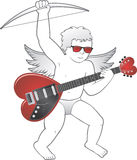 Cupid with Heart Shaped Guitar. Cupid holding a red heart shaped guitar and wearing red sunglasses Stock Image