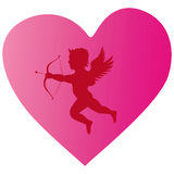 Cupid heart silhouette Royalty Free Stock Photos