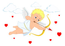The cupid and heart for Valentine`s Day or weddings Royalty Free Stock Image