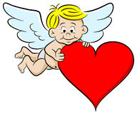 Cupid with heart Stock Photos