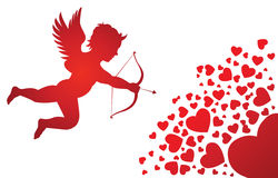 Cupid with hearts Stock Photo