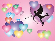Cupid with hearts. Pink background with colored hearts and cupid shape Royalty Free Stock Image