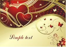 The cupid and hearts. Pair of red hearts with butterflies, the cupid and the block for the text Royalty Free Stock Photography