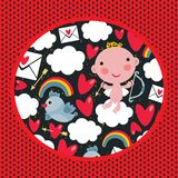 Cupid with hearts and birds pattern. Royalty Free Stock Images