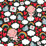 Cupid with hearts and birds seamless pattern. Vector texture for the Valentine`s day Stock Photos