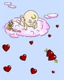 Cupid and hearts. Humorous cupid and red hearts, on a blue background. This vignette combines traditional ink techniques with digital color Stock Image