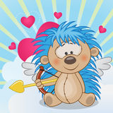 Cupid Hedgehog. With a bow on a background of clouds and hearts vector illustration