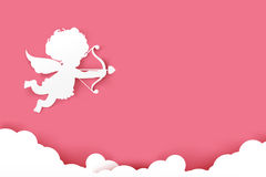 Cupid holding arrow with shadow on pink background with copyspac Royalty Free Stock Photo