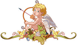 Cupid holding a bow with arrow Stock Photo