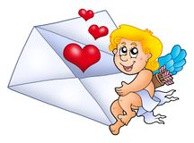 Cupid holding envelope 1 Stock Photo