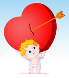 Cupid Holding Heavy Heart Royalty Free Stock Photography