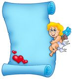 Cupid holding Velentine parchment Stock Images
