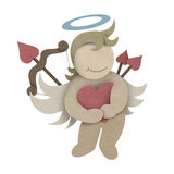 Cupid hug love heart made by recycled paper craft Stock Image