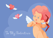 Cupid hunting with archery bow flying hearts. Stock Photos