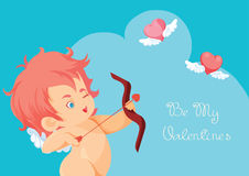 Cupid hunting with archery bow flying hearts. Royalty Free Stock Photos