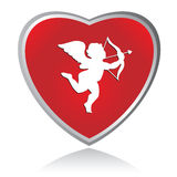 Cupid Icon. Illustration of cupid on a heart shaped icon Stock Photography