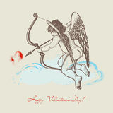Cupid illustration. Hand drawn Cupid with arch Royalty Free Stock Images