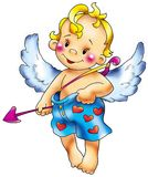 Cupid in intimate cowards. Cupid congratulates all in love with Valentine's day Royalty Free Stock Photography