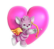Cupid Kitty with Heart 2. 3D render of a pink cupid kitty with his bow and arrow, in front of a pink heart Royalty Free Stock Image