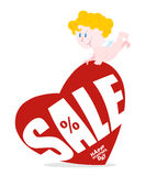 Cupid and large red heart with sale. Royalty Free Stock Photography
