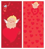 Cupid with a letter, Invitation, Valentine`s day Stock Photos