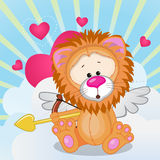 Cupid Lion. With a bow on a background of clouds and hearts stock illustration