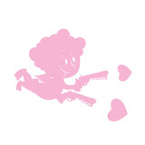 Cupid and love guns. Silhouette of little angel with smile. weap Royalty Free Stock Images