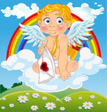 Cupid with love letter on cloud over field Stock Image