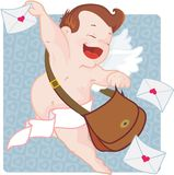 Cupid with love letters Royalty Free Stock Photo