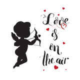 Cupid Love silhouette with bow and arrow and Love Stock Photos