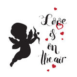 Cupid Love silhouette with bow and arrow and Love  Royalty Free Stock Photos