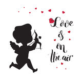Cupid Love silhouette with bow and arrow and Love Stock Image