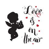 Cupid Love silhouette with harp and Love is on the air Royalty Free Stock Images