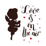 Cupid Love silhouette with harp and Love is on the air Royalty Free Stock Photo